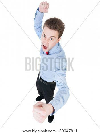 skinny guy funny fights waving his arms and legs. Isolated over white background. Funny guy clumsily boxing. Top view of swings in a fight looking for a baboche.