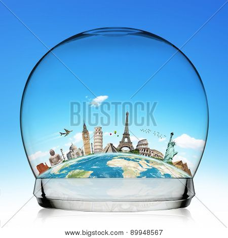 Monuments Of The World In A Snowball