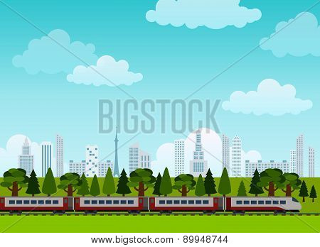 Railroad and train rides. Poster. Flat style