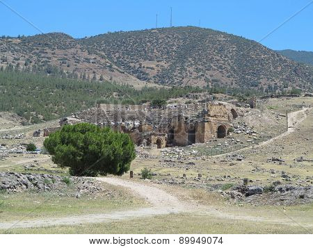 Ruins Of The Ancient City Of Hierapolis And Blue Sky