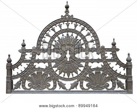 Old Forged Metallic Decorative Lattice Fence Isolated Over White