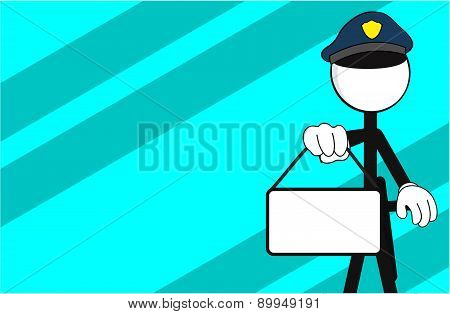police man pictogram singboard background
