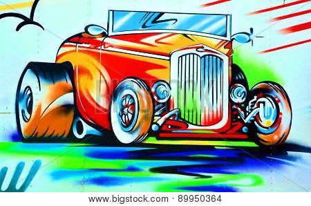 Mural old fashion car