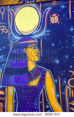 Mural of egyptian god