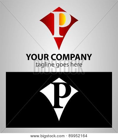 Abstract logo icon design template elements with letter P