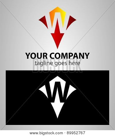 Abstract logo icon design template elements with letter W