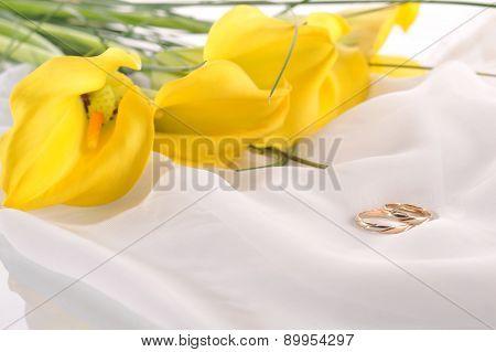 Yellow Calla Lilies And  Wedding Rings