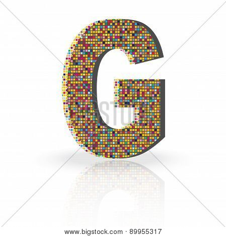 3D Vector Font With Reflection Alphabet Letter G