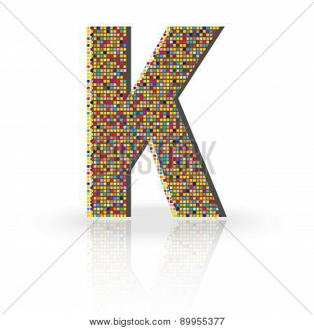 3D Vector Font With Reflection Alphabet Letter K