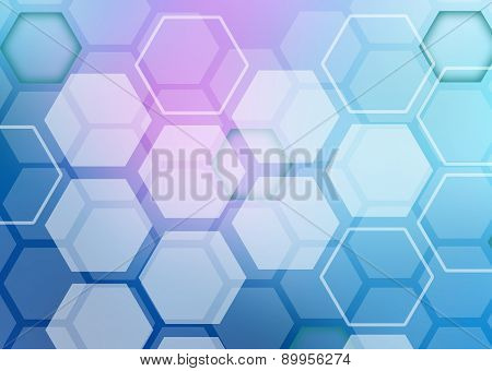 Abstract colorful background of hexagonal shapes randomly collected