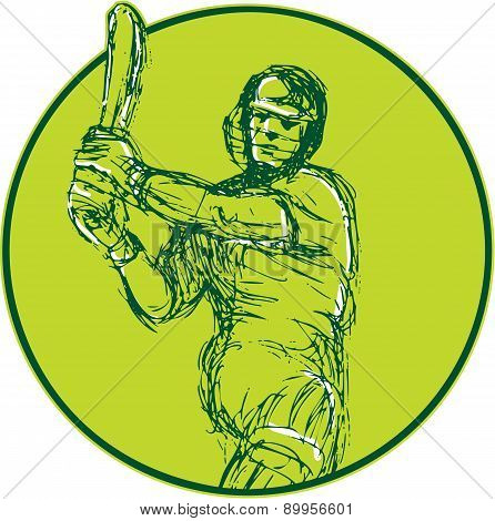 Cricket Player Batsman Batting Drawing