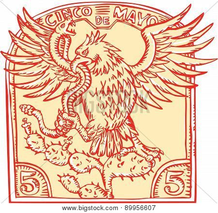 Mexican Eagle Devouring Snake Etching