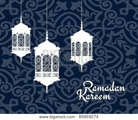 Hanging arabic lanterns for Ramadan Kareem holiday