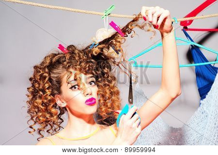 Fashionable Woman With Scissors