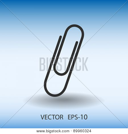 Flat long shadow Paperclip icon, vector illustration