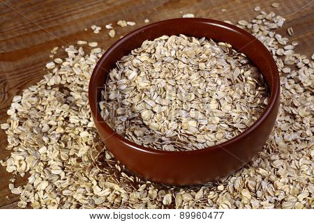 Oatmeal In Plate And On The Table