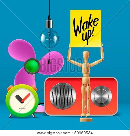 Wake up. Workspace mock up with analog alarm clock, sound system, fan, wooden mannequin