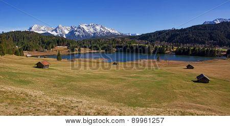 Panoramic View To Lake Gerold And Karwendel Mountains
