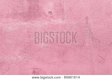 Splitted And Cracked Concrete Wall With Net And Holes, Textured Cement Background, Pink And Rosy