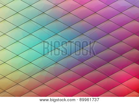 Colorful Geometric Background With Rhombus. Blurred Gradient Mosaic