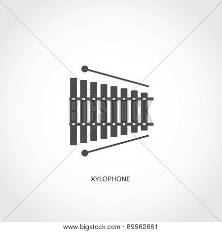 Musical instrument xylophone flat icon