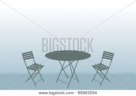 Garden Table And Chairs Illustration