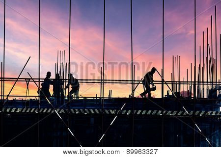 silhouette of construction site