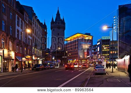 Rush Hour Downtown Frankfurt With View To The Eschesheimer Turm