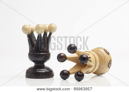 Two Wooden Chess Pieces Alone