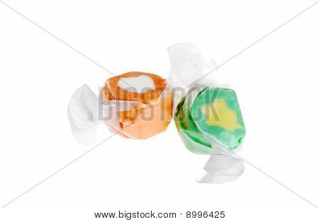 two pieces of salt water taffy