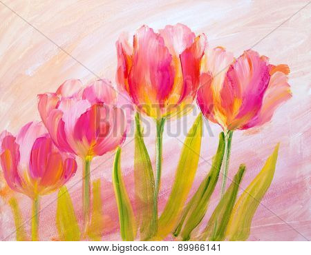Vintage red tulips. Oil painting on canvas.