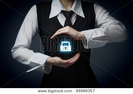 Security Services And Protection Concept. Login, Sign In Concepts. Businessman Offer Padlock, Symbol