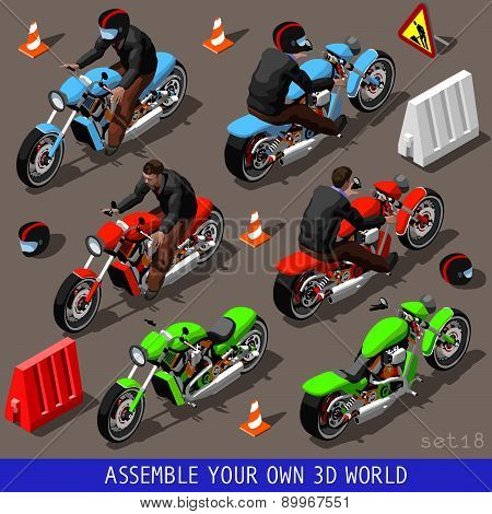 Isometric Flat 3D Vehicle Bikers Set