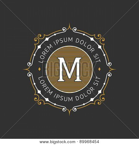 Stylish graceful monogram emblem template. Vector illustration.