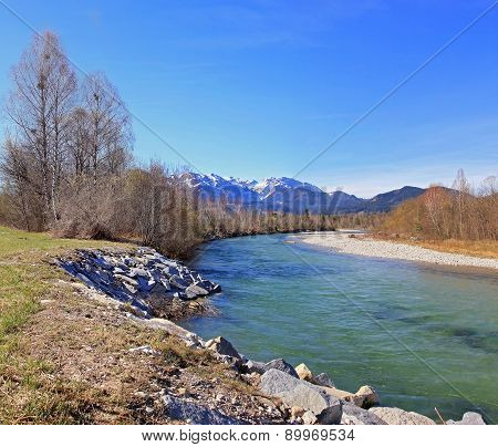 Beautiful River Isar And Mountain View