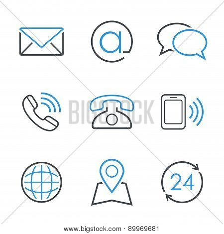 Contacts simple vector icon set