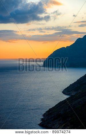 Beautiful cloudy sunset at Lefkada island
