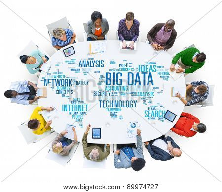 Big Data Storage Information World Map Concept