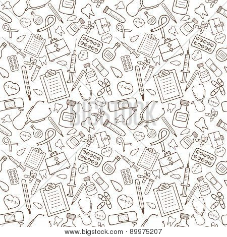 Seamless Pattern With Medical Icons On White Background