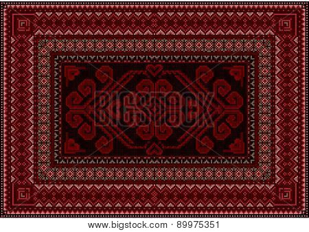 Dark carpet with red and brown shades