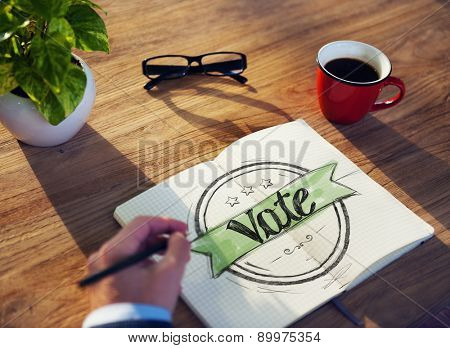 Man with Note Pad and Vote Concept