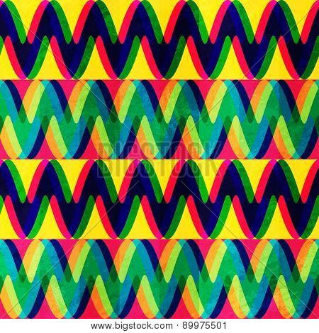 Zigzag Seamless Pattern With Grunge Effect