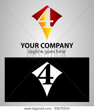 number four 4 logo icon design template elements