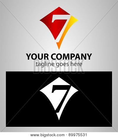 number seven 7 logo icon design template elements