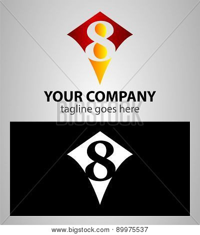 number eight 8 logo icon design template elements