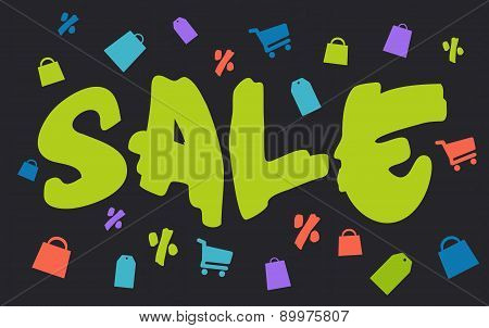 Big brush green sale with shopping icons on dark background