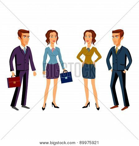 Set Characters Design. Office Team. Vector. Man Women