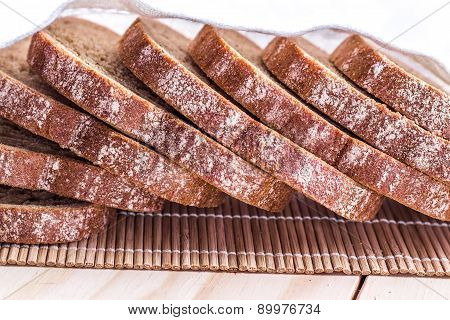 Bread from wheat flour. Cut into pieces