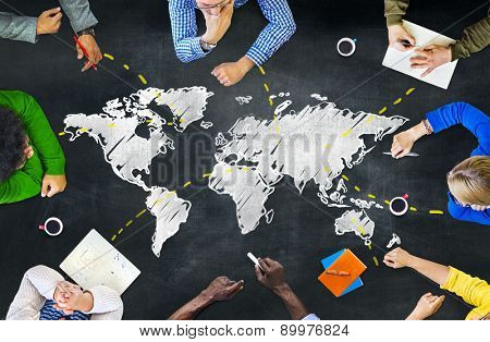 Group of People Blackboard Global Communications Concept