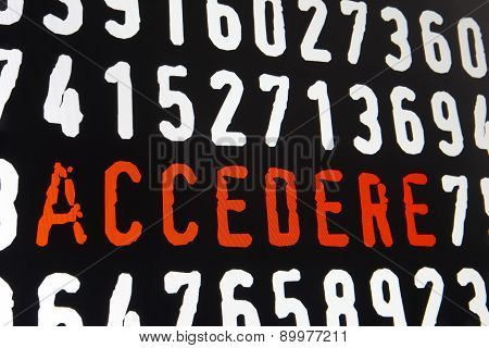 Computer Screen With access code Text On Black Background